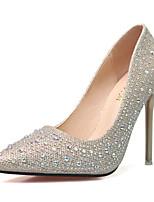 Damen-High Heels-Büro-Glanz-Stöckelabsatz-Absätze-Schwarz / Blau / Rosa / Silber / Grau / Gold