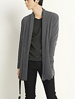 Men's Solid Casual / Sport Cardigan,Cotton / Polyester Long Sleeve Blue / White / Gray Sweater