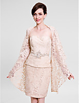 Women's Wrap Shrugs Long Sleeve Lace Champagne Wedding / Party/Evening Wide collar 39cm Lace Open Front