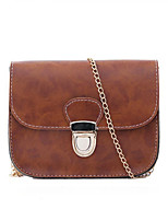 Women Vintage Oil Leather Casual Shopping Chain  Push Lock Shoulder Coin Purse Mobile Phone Bag