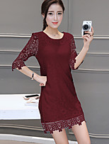 Women's Plus Size / Going out Simple Sheath Dress,Solid Round Neck Above Knee ¾ Sleeve Red / White / Black