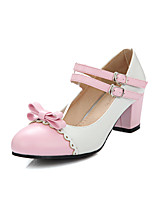 Women's Shoes PU Summer/Round Toe Heels Office & Career / Casual Chunky Heel Bowknot / Buckle Black / Blue/Yellow/Pink