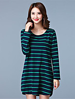 Women's Going out / Casual/Daily Simple / Active Shift DressStriped Round Neck Above Knee Long Sleeve  Plus Size