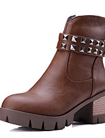 Women's Boots Winter Platform / Bootie Dress Chunky Heel Rivet / Zipper Black / Brown / Gray / Beige Others