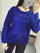 Women's Casual/Daily Street chic Short Pullover,Solid Blue / Black Round Neck Long Sleeve Cotton Fall Medium
