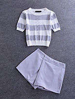 Boutique S Going out/Daily /Suit/ Sexy / Cute Summer T-shirt Pant,Solid / Striped Round Neck ½ Length SleeveWhite