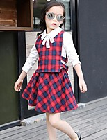 Girl's Casual/Daily Plaid Dress,Cotton / Rayon Winter / Spring / Fall Green / Red