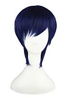 Perruques de Cosplay Rage of Bahamut Noba Bleu Court Anime Perruques de Cosplay 35 CM Fibre résistante à la chaleur Masculin / Féminin