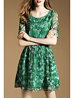 Boutique S Women's Going out Sophisticated Sheath Dress,Floral Round Neck Above Knee ½ Length Sleeve Green Rayon Spring