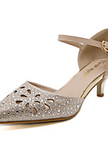 Women's Shoes Sparkling Glitter Heels Hollow-carved Pointed Toe Sandals with Gold and Silver Colors for Dress/Causal