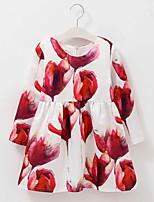 Girl's Cotton Spring/Autumn Cute Print Flower Dress Long Sleeve Princess Dress