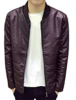 In the spring of 2016 young men's leather casual slim collar jacket thin spring large Korean code coat tide