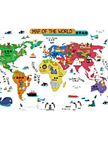 World Map Decals Nursery Children's Room Wall Stickers Cartoon Animals Wall Stickers for Kids