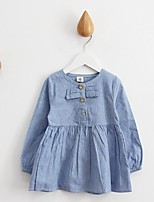 Girl's Casual/Daily Solid Dress,Cotton Spring / Fall Blue / Gray