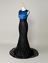 Formal Evening Dress Trumpet / Mermaid Jewel Court Train Lace / Satin with Lace