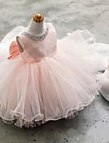 볼 드레스 숏 / 미니 플라워 걸 드레스 - 튤 민소매 쥬얼리 와 비즈 / 리본