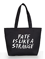 Women Canvas Printing Letters Casual  Outdoor Shopping Shoulder Storage Bag