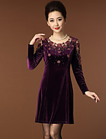Women's Casual/Daily Simple Sheath Dress,Embroidered Round Neck Above Knee Long Sleeve Black / Purple Polyester Spring