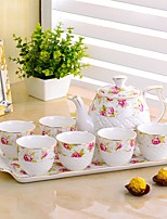 Continental Coffee Set White Ceramic Tray Of Cold Tea Kettle