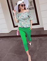 Boutique S Women's Casual/Daily Street chic Fall Set Pant,Print Boat Neck ½ Length Sleeve Green Polyester Thin
