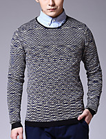 Men's Plaid Casual Pullover,Cotton Long Sleeve Blue / Green