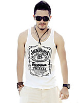 Men's Letter Casual / Sport Tank Tops,Cotton Sleeveless-Black / White