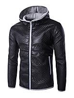 Men's Korean Slim Plaid Hooded Leather Jacket,PU / Polyester Plaids / Color Block Blue / Gray