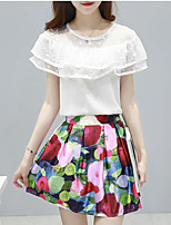 Women's Casual/Daily Simple Summer Blouse Skirt,Solid / Floral Round Neck Short Sleeve White Cotton Medium