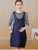 Maternity Casual/Daily Simple Loose Dress,Solid Round Neck Above Knee Long Sleeve Blue Polyester Summer