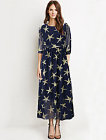 Women's Plus Size Sophisticated Sheath Dress,Print Round Neck Maxi ½ Length Sleeve Blue Cotton / Polyester Summer