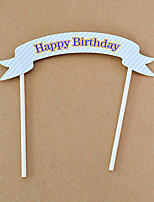 Cake Topper Non-personalized Hearts Card Paper Birthday Flowers Blue Rustic Theme