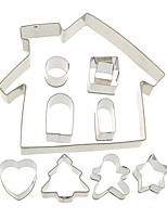 10PCS Stainless Steel Gingerbread House Cookie Cake Cutters Biscuit Bread Moldelling Mold Baking Set