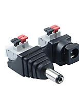 feminino jack Plug Plug conector do adaptador para a luz de tira conduzida 5pair 2,1 x 5,5 milímetros masculino de alimentação CC +
