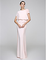 TS Couture® Formal Evening Dress Sheath / Column Jewel Floor-length Chiffon with Buttons