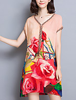 Women's Casual/Daily Vintage Loose Dress,Floral / Print V Neck Above Knee Short Sleeve Red / Green Silk