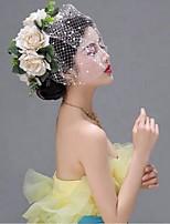 Donne A rete Copricapo-Matrimonio / Occasioni speciali Veli corti 1 pezzo Bianco Cerchio 19cm