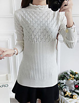 Women's Casual/Daily Simple Regular Pullover,Solid Pink / White / Black Round Neck Long Sleeve Rayon Spring Medium