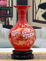 Jingdezhen Ceramics Small Chinese Red Porcelain Peony Vase Crafts Ornaments (Random Shape)
