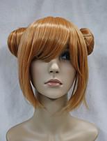 peluca de la muchacha de naranja traje de cosplay de anime doble bollo pelo sintético japonés