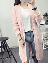 Women's Casual/Daily Simple Long Cardigan,Solid Pink / Green Round Neck Long Sleeve Cotton Spring Medium