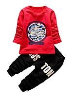 Мальчик Набор одежды,На каждый день,С принтом,Хлопок,Осень,Синий / Красный / Белый