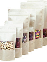 Factory Direct Kraft Paper Bags Kraft Window Ziplock Standing Bags A Pack Of Ten Food