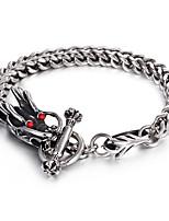 316L Stainless Steel Link Chain Red Evil Eyes Dragon Bracelet 2016 Fashion Punk Bracelet Cool Men Accessory Gift