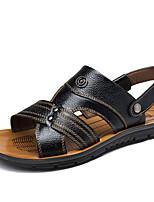 Herren-Sneaker-Outddor / Lässig-Leder-Flacher Absatz-Flache Schuhe-Schwarz / Braun / Gelb