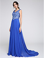 TS Couture® Formal Evening Dress A-line V-neck Court Train Chiffon with Appliques
