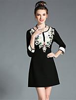 aofuli plus size Frauen Kleidung Vintage Luxus Perle bestickt hohle Spitze schwarze und weiße Farbe Block Kleid