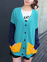 Women's Casual/Daily Street chic Long Cardigan,Patchwork Blue V Neck Long Sleeve Acrylic Fall Medium