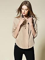 BURDULLY Women's Shirt Collar 1/2 Length Sleeve Sweater & Cardigan Black / Khaki-1685