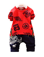 Boy's Casual/Daily Print Clothing Set,Cotton Fall Red / White / Gray