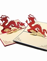 Paper Craft 3D Pop-up Greeting Card For Birthday Festival Party Random Color  Chinese Dragon